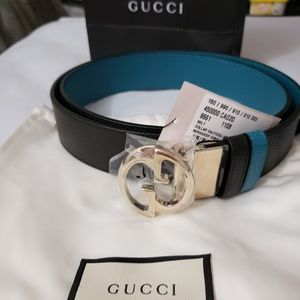 GUCCI GG Reversible Calf Leather Black 100/39/12